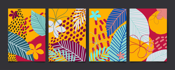 Set of abstract floral pattern with tropical flowers and leaves. Creative universal art background. Wedding, anniversary, party invitations, covers, decor elements. Vector