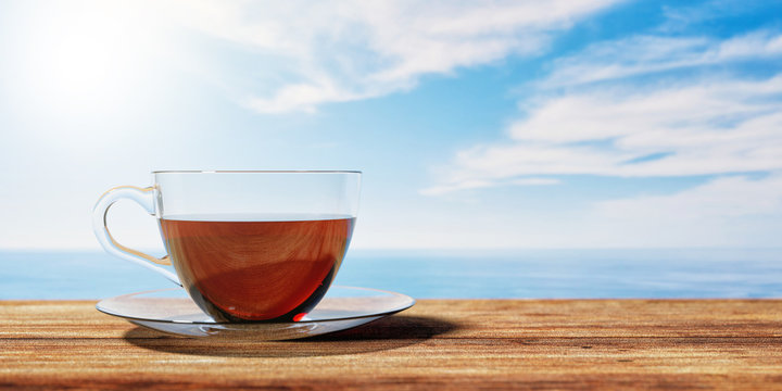 3D illustration of a cup of tea on a brown wooden table with Cloudy sky an sea background. Textured Wallpaper.