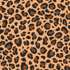 Wall Murals Pattern Leopard vector hand-drawn seamless pattern. Animal print background