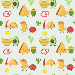Cartoon mexican kawaii food and ingredients, taco, burrito, guacamole, quesadilla, seamless pattern