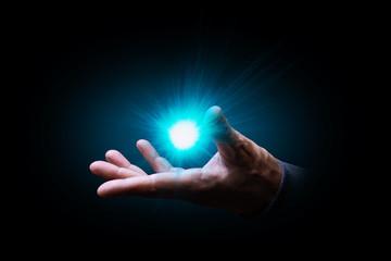 mano, palmo, flash, luce