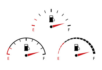 Vector fuel gauge icon. Indicator of full gas or petrol for dashboard in car on white background. Measurement of level of diesel on dial in auto. Design gasoline panel for control in automobile.
