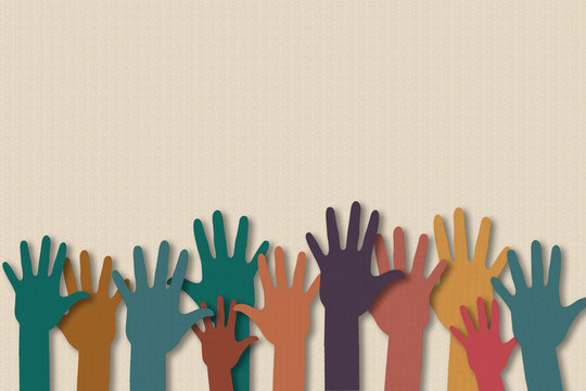 Teamwork, Volunteer, Community service and charity work concept. Paper cut of hand raise up many people and join hand together on paper texture background. With copy space for your text.
