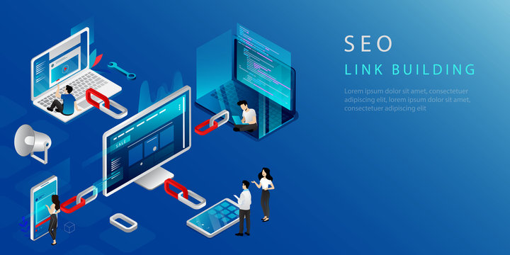 Isometric Concept Of Link Building, Seo Marketing And Backlink Strategy. Website Landing Page. Digital Marketing With People. Internet Business Development, Networking Strategy. Vector Illustration