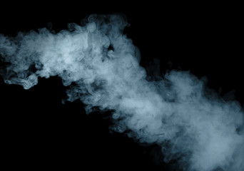 Light blue smoke blot isolated on black background.