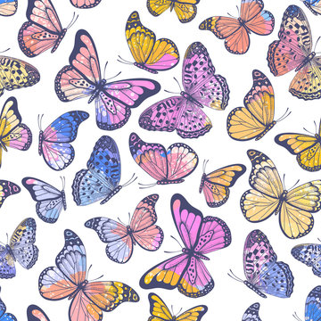 Vintage seamless pattern with pastel watercolor butterflies on white background
