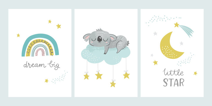 Cute nursery and kids posters including moon, clouds, star, rainbow, sleeping koala bear and phrases: dream big, little star. Vector illustrations for baby shower cards, invitations, greeting cards.