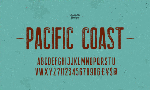 Vintage Handcrafted Font and Alphabet. Textured with The effect of an old worn out decals letters. Vector Illustration.