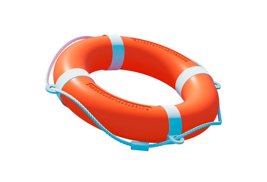 Life buoy isolated. Lifebuoy 3D illustration. Life preserver isolated on white background. Life ring. Closeup of rescue ring. Safety ring. Life buoy 3D.