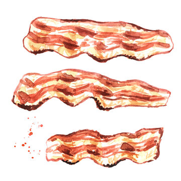 Fried bacon pieces set. Hand drawn watercolor illustration isolated on white background