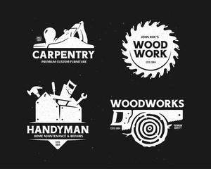 Carpentry woodworks handyman labels set. Vector illustration.