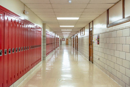 Empty high school hallway