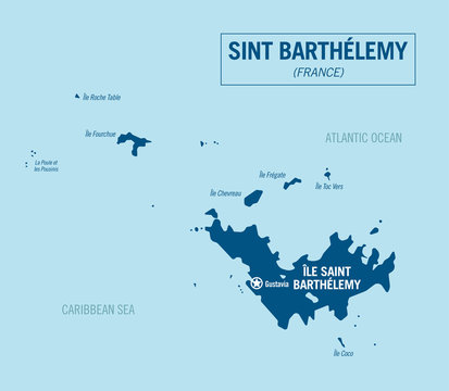 Saint Barthelemy island map, France. Detailed vector illustration.