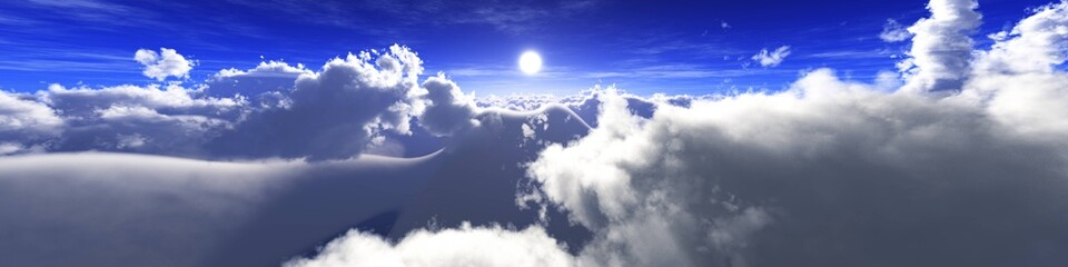 Beautiful clouds, panorama of clouds, flying in clouds, the sun above the clouds, 3D rendering Fototapete