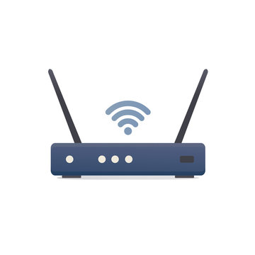 modem router device. wireless internet. flat vector illustration. isolated on white background