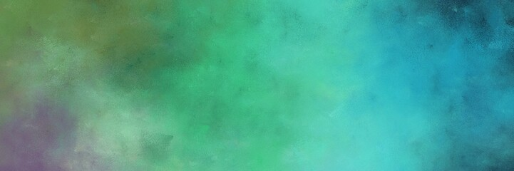 beautiful vintage abstract painted background with cadet blue and blue chill colors and space for text or image. can be used as horizontal header or banner orientation Wall mural