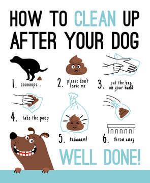 Clean up after your dog. Dogs poop hands cleaning vector illustration, pick up poo after pets, person picking waste from park lawn in canine bag