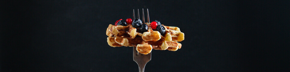 Belgian or american waffles delicious sweet dish, dessert snack menu concept background. top view. copy space for text