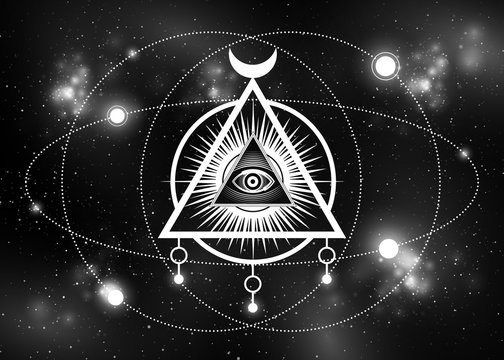 Sacred Masonic symbol. All Seeing eye, the third eye (The Eye of Providence)  inside triangle pyramid. New World Order. Isolated on galaxy background. Vector illustration. Print, poster, T-shirt, card