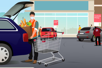 Grocery Worker Putting Groceries Inside a Car at Curbside Pickup Illustration