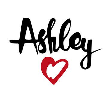 Female name drawn by brush. Hand drawn vector girl name Ashley.