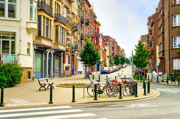 Tuinposter Brussel Cityscape, street, bicycles, Brussels, Belgium
