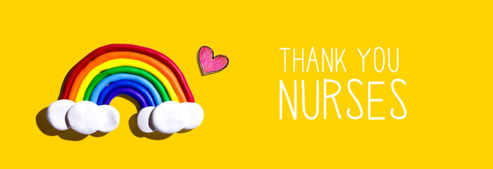 Stores photo Pays d Asie Thank You Nurses message with a rainbow and a heart