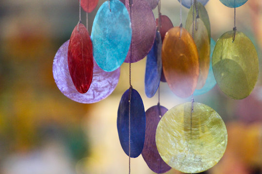 Close-up Of Colorful Hanging Wind Chime