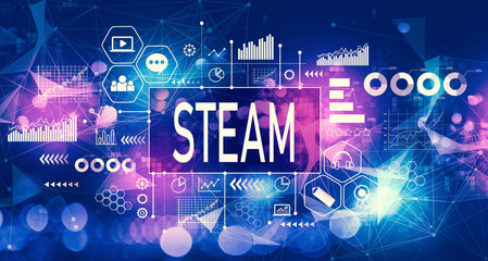 STEAM concept with technology blurred abstract light background