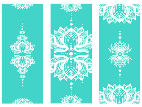 Vertical banner with lotuses Yoga mat design set.