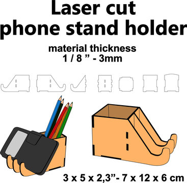 "Laser cutting design Laser cut pattern Laser cut wood Laser cut vector template diy crafts mdf acrylic plywood 3mm 1/8"" phone stand holder pencil box template office supplies telecommunting material"