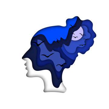 vector illustration in the style of paper cut. Paper application. Night terrors, psychological stress, nightmares, the unconscious, the subconscious. Calm. Lucid dream. Night rest. Soporific.