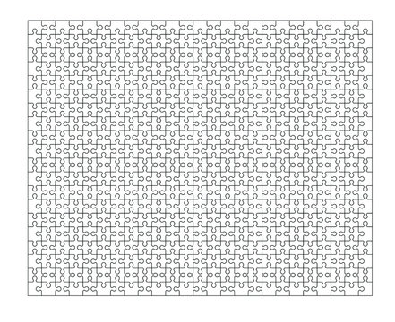 Set of five hundred puzzle pieces. Puzzle with different types of details and the ability to move each part. Black and white vector illustration isolated on white background.