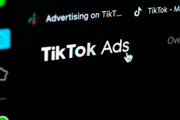 Tik Tok Ads Sankt-Petersburg, Russia, May 11, 2020: Tik Tok ads homepage on Apple iMac monitor screen close-up. Tik Tok business icon. tik tok advertising application. Social media icon