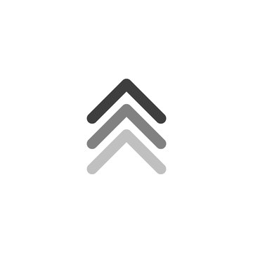 three black arrows up icon. swipe up or scroll button. Isolated on white. Upload icon. Upgrade, speed up sign. North pointing arrow.