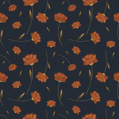 Floral raster seamless pattern. Floral botanical motifs. Illustration with flowers can be used for wallpapers, pattern fills, web page backgrounds,surface textures. Gorgeous floral arrangement - 347988331