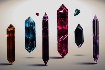 Realistic magic gemstones flying crystal gem