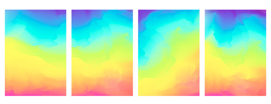 Bright vector vertical watercolor rainbow colors blurred background. Beautiful colorful abstract smooth nature landscape wallpaper in spectrum colors for web design, lgbt concept decor