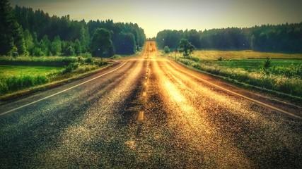 Fotomurales - Road Passing Through Field