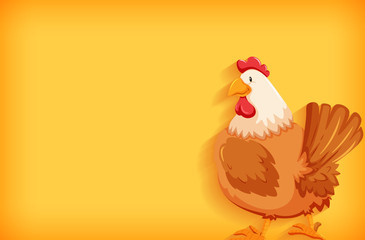 Background template with plain color and fat chicken Fotomurales
