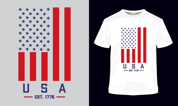 """USA Est- 1776"" typography vector t-shirt template. Can be used for t-shirt print, mug print, pillows, fashion print design, kids wear, baby shower, greeting and postcard."