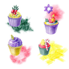 Hand painted christmas arrangments with cupcakes, abstract spots and different decorations. Yellow, red, purple and green color palette. For templates, menu cards, invitation greeting and postcards