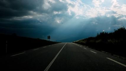 Foto auf Acrylglas Schwarz Empty Road Along Countryside Landscape