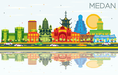 Fotomurales - Medan Indonesia City Skyline with Color Buildings, Blue Sky and Reflections.