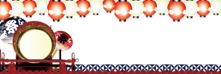 夏祭り大太鼓に紅白の輝く提灯と祭りのうちわのイラストバナー素材