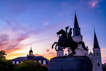 Sunset Andrew Jackson Statue Saint Louis Cathedral New Orleans Louisiana Fotomurales