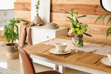 Wall Mural - Served table in modern dining room