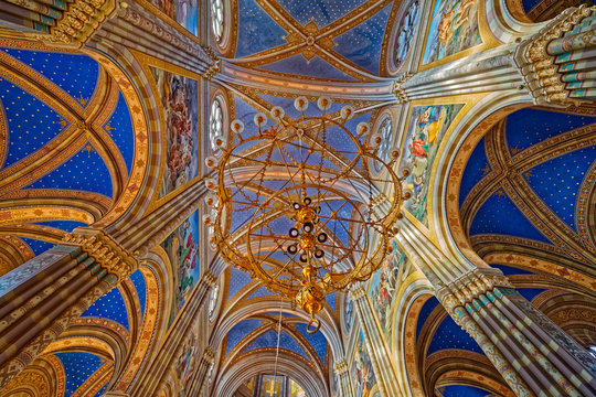 DJAKOVO, CROATIA - October 5, 2017: Old chandelier of the cathedral of St. Peter in Djakovo Croatia.