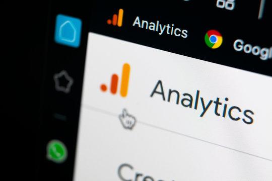 Sankt-Petersburg, Russia, May 11, 2020: Google Analytics homepage on Apple iMac screen close-up. Google Analytics icon. Google Analytics application. Social media network