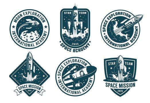 Retro space badges set. Astronaut emblems with launch rocket vintage pack. Vector illustration.